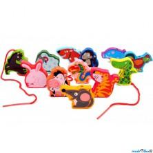 Navlékání tvarů - Zvířátka, 12ks (Mi Toys)