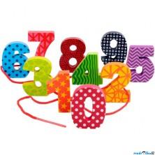 Navlékání tvarů - Čísla, 10ks (Mi Toys)