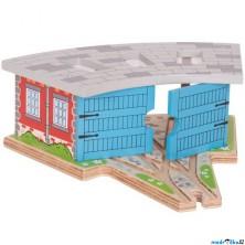 Vláčkodráha depa - Depo trojmístné s dveřmi (Bigjigs)