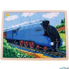 Puzzle na desce - Velké A3, Vlak Mallard, 35ks (Bigjigs)