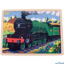 Puzzle na desce - Velké A3, Vlak Flying Scotsman, 35ks (Bigjigs)