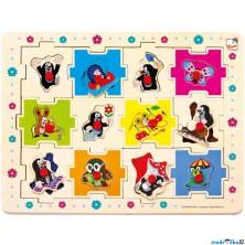 Puzzle vkládací - Krtek edukativní skládanka, 24ks (Bino)
