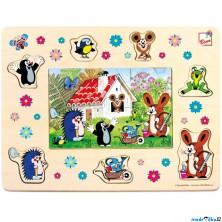 Puzzle na desce - Krtek a přátelé 2v1, 13ks (Bino)