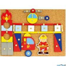 Hra s kladívkem - Deska s přibíjecími tvary, Hasiči (Bino)