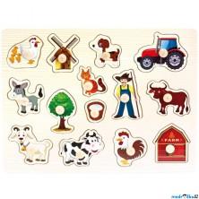 Puzzle vkládací - Farma, 14ks (Bino)