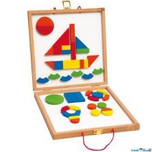 Puzzle magnetické - Kreativní kufřík s tvary (Woody)