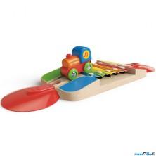 Vláčkodráha KIDS - Kolej s xylofónem a mašinkou (Hape)