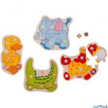 Společenská hra - Kostková hra puzzle zvířátka (Goki)