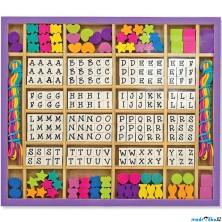 Navlékací perle - Písmenka v dřevěné krabici (M&D)