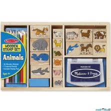 Razítka dřevěná - Set velký zvířátka (M&D)