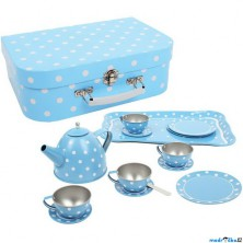 Kuchyň - Čajový set v kufříku, Modrý puntíkovaný (Bigjigs)