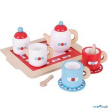 Kuchyň - Čajový set dřevěný, Servis s puntíky (Bigjigs)