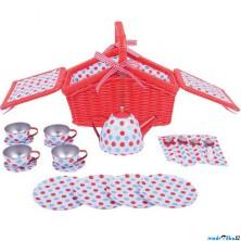 Kuchyň - Čajový set v košíku, Červený puntíkovaný (Bigjigs)