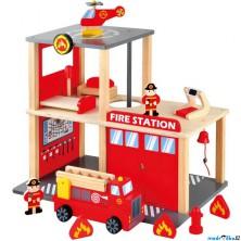 Hasičská stanice - Dřevěná s autem a hasiči (Bino)