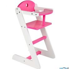 Židlička pro panenky - Dřevěná bílo-růžová (Legler)