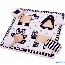 Puzzle pro nejmenší - Vkládačka černobílá, Pes (Bigjigs)