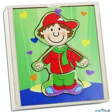 Puzzle oblékání - Šatní skříň kluk s grimasou, 12ks