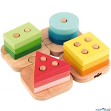 Skládačka - Základní tvary na puzzle podložce (Woody)