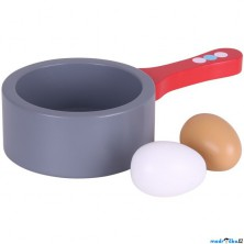 Kuchyň - Pánev dřevěná a vejce (Bigjigs)
