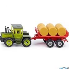 SIKU kovový model - MB traktor s vlekem a balíky slámy