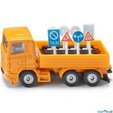 SIKU kovový model - Nákladní vozidlo s dopravními značkami