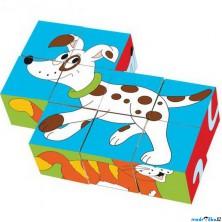 Kostky obrázkové 9ks - Zvířátka v barvách (Woody)