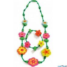 Dřevěná bižuterie - Sada, Zelený s květinkami (Woody)