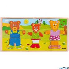 Puzzle oblékání - Šatní skříň 3 medvědi, 54ks (Woody)