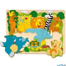 Puzzle na desce - Tvarové, Africká zvířátka, 10ks (Woody)